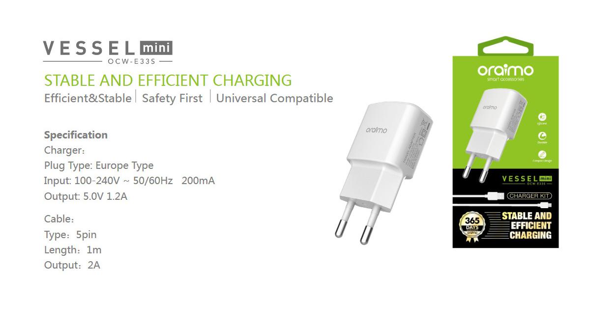 Oraimo Chargeur micro USB OCW-E33S - Blanc prix maroc